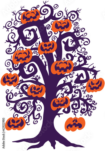 Halloween tree full of naughty pumpkins