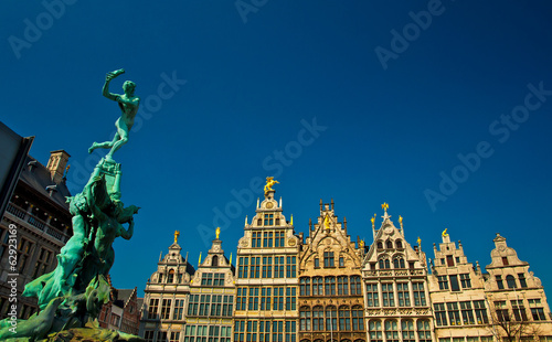Nice houses in the old town of Antwerp, Belgium