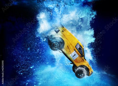 sinking rally car