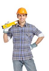 Half-length portrait of foreman in range helmet