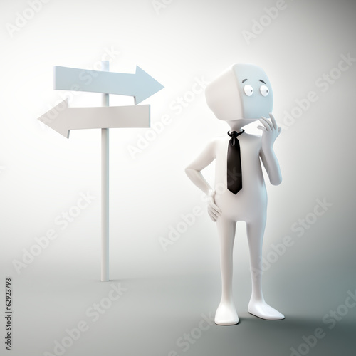 3D character standing on the crossroads