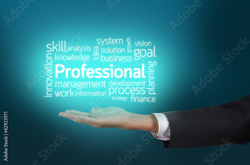 Businessman hand holding professional wording