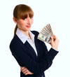 Business woman holding cash dollars, giving money.
