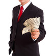 Businessman holding Cash Dollars in hands
