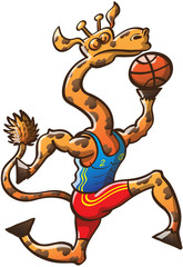 Brave Giraffe Jumping and Holding a Basketball