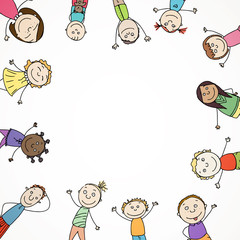Vector Illustration of an Abstract Background with Children
