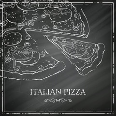 Vector Italian Pizza Poster on a Black Chalkboard