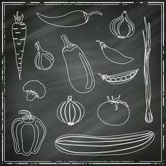 Vector Illustration of Abstract Vegetables on a Black Chalkboard