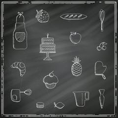 Vector Illustration of Bakery Elements on a Black Chalkboard
