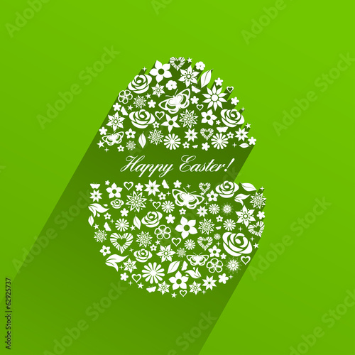Easter egg consisting of white flowers with shadow
