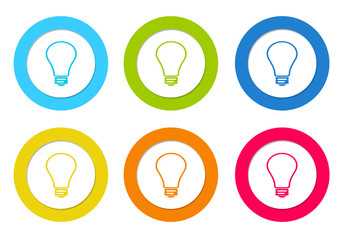 Colorful rounded icons with light bulb symbol