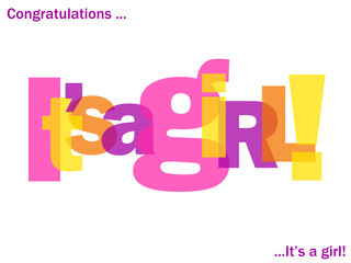 """IT'S A GIRL"" Letter Collage (card congratulations birth baby)"