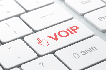 Web development concept: Mouse Cursor and VOIP on computer