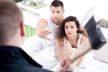 caught in cheating, angry husband holding the hatchet, a woman a