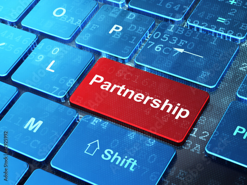 Business concept: Partnership on computer keyboard background