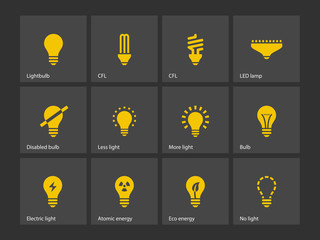 Light bulb and CFL lamp icons.