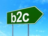 Business concept: B2c on road sign background poster
