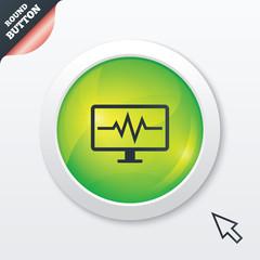 Cardiogram monitoring sign icon. Heart beats.