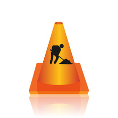 Under construction cone vector illustration