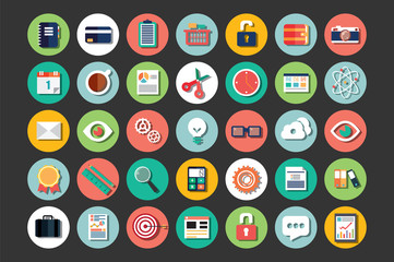 Collection of flat design icons, cloud computing, communication
