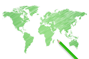 Colred pencil world map illustration