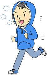 パーカー男性 ジョギング