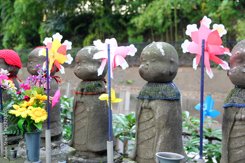 Jizo statues at japanese temple.