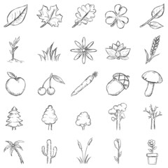 Vector Set of Sketch Plants Icons