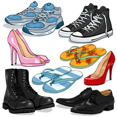 Vector Set of Cartoon Shoes
