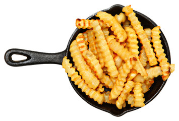 Oven Baked Crinkle Fries in Cast Iron Skillet