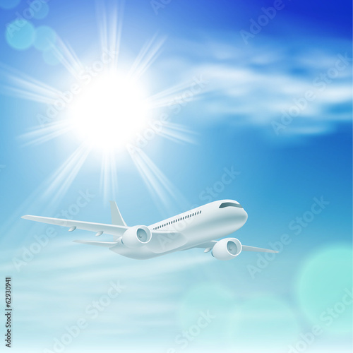 Illustration of airplane in the sky with sun