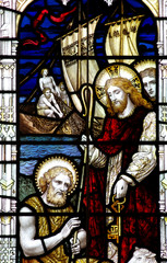 Jesus and St. Peter with keys, in stained glass.