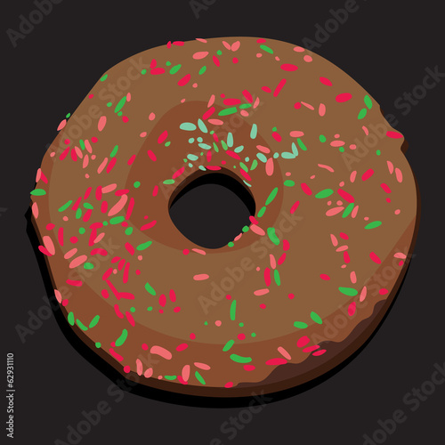 Delicious donut with colorful icing