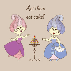 Vector illustration - cartoon princess eat cake