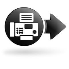 fax télécopie sur bouton noir