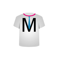 T Shirt Template- letter M with tie