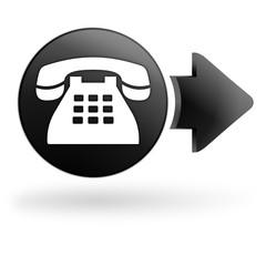 téléphone sur bouton noir