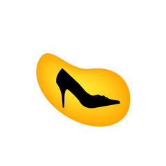 A ladies shoe in a yellow droplet- logo for footwear business