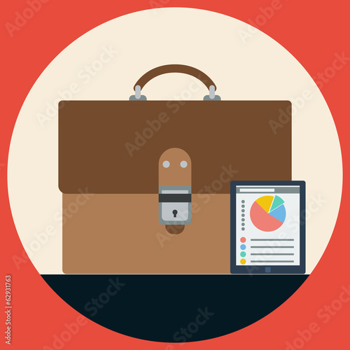 Briefcase flat vector illustration