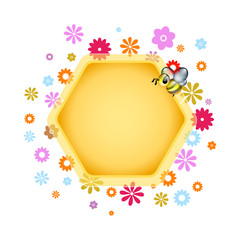 Design element or text box with Honeybee and flowers