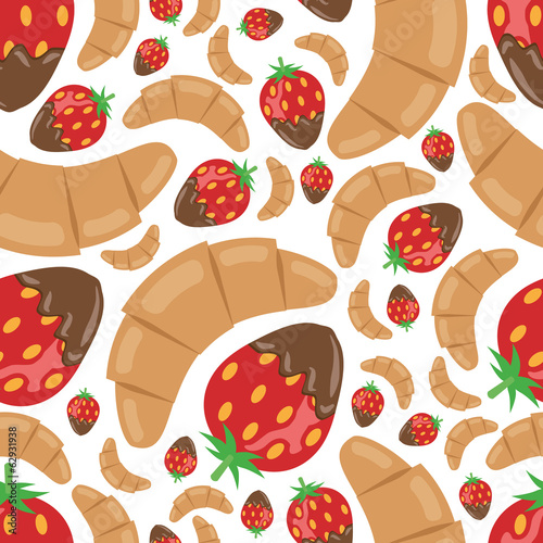 croissant and strawberry in chocolate seamless pattern