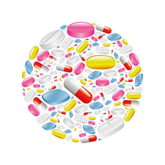pills and capsule in circle