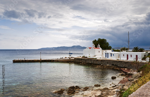 Harbour with small church in Mykonos