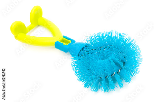 blue dishwashing brush