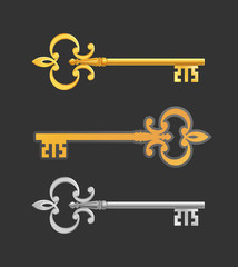 Medieval Keys. Gold- and silver-colored old-fashioned keys
