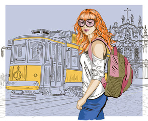 fashion girl and old tram, urban scene