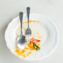 Leftover food on place after breakfast
