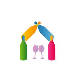 House with bottles- logo for business symbolizing celebration