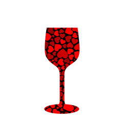 glass with red hearts
