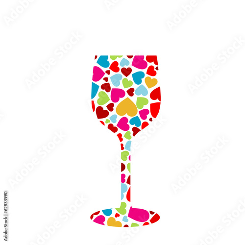 Glass with colorful hearts